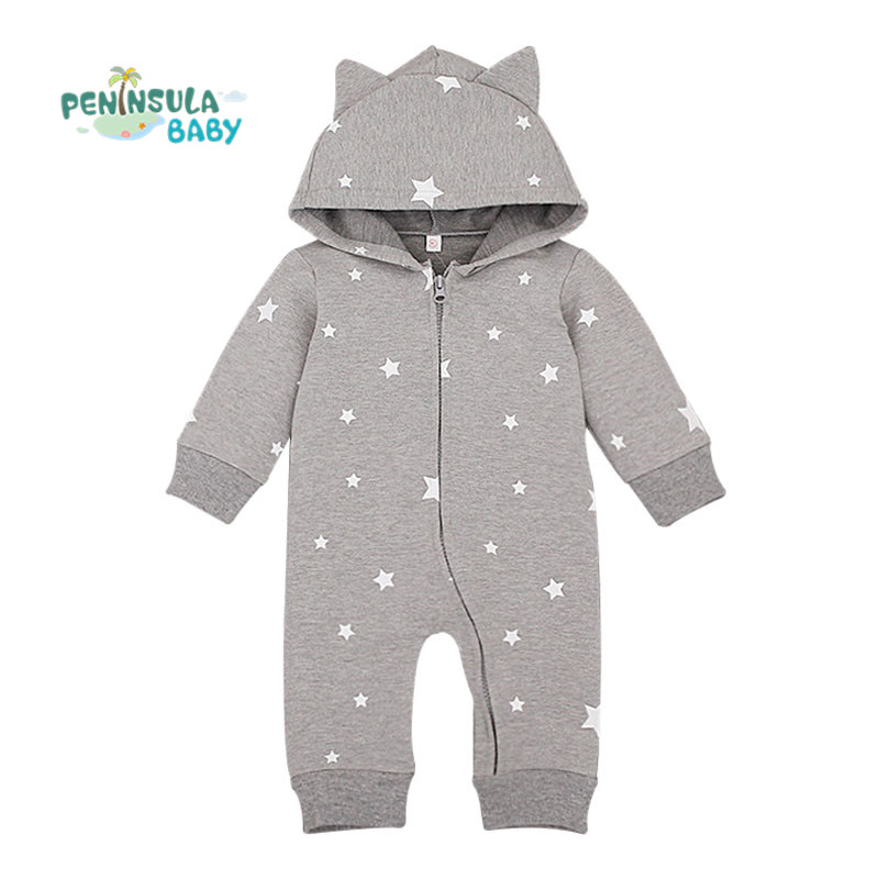 Fashion baby boy clothes newborn cotton rompers long sleeve coverall hooded baby girl infant clothing roupa recem nascido(China (Mainland))