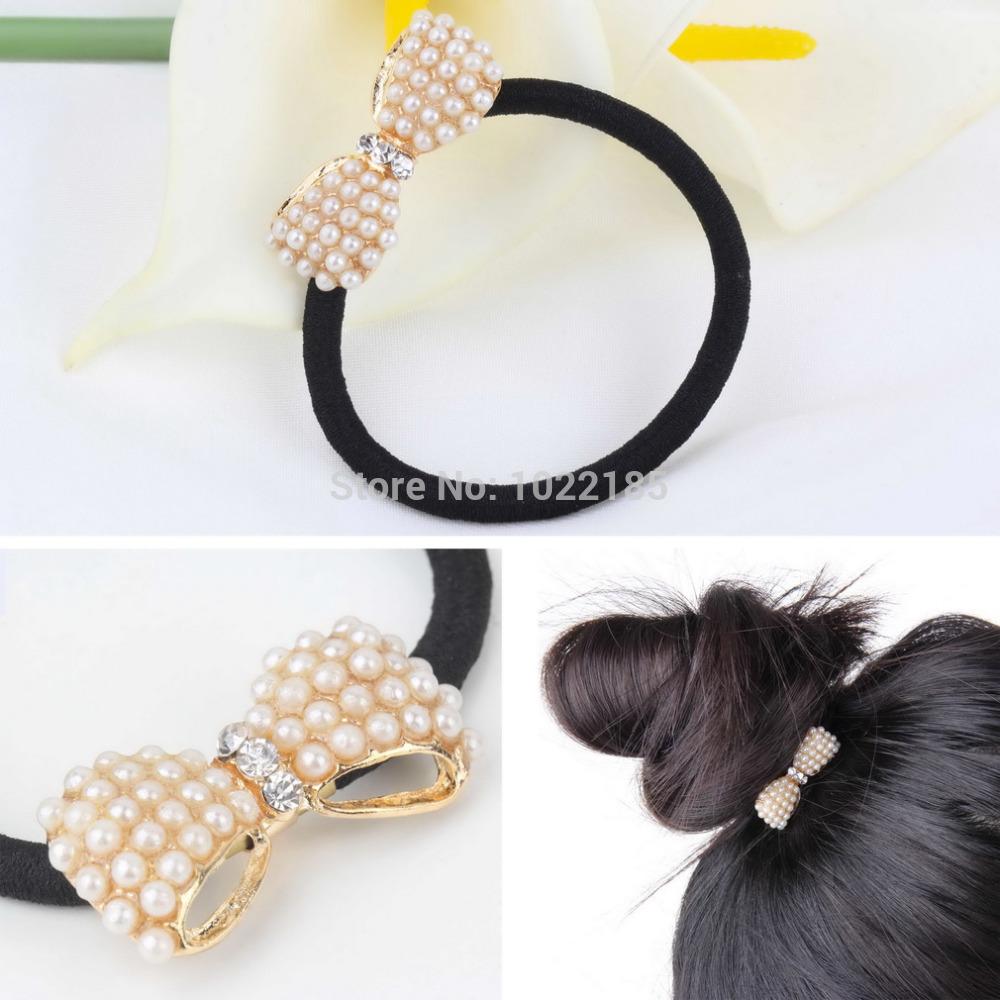 2015 New Fasion Lady Girl White Crystal Rhinestone Flower Ponytail Holder Hair Rope Hair Band Hair Decor(China (Mainland))