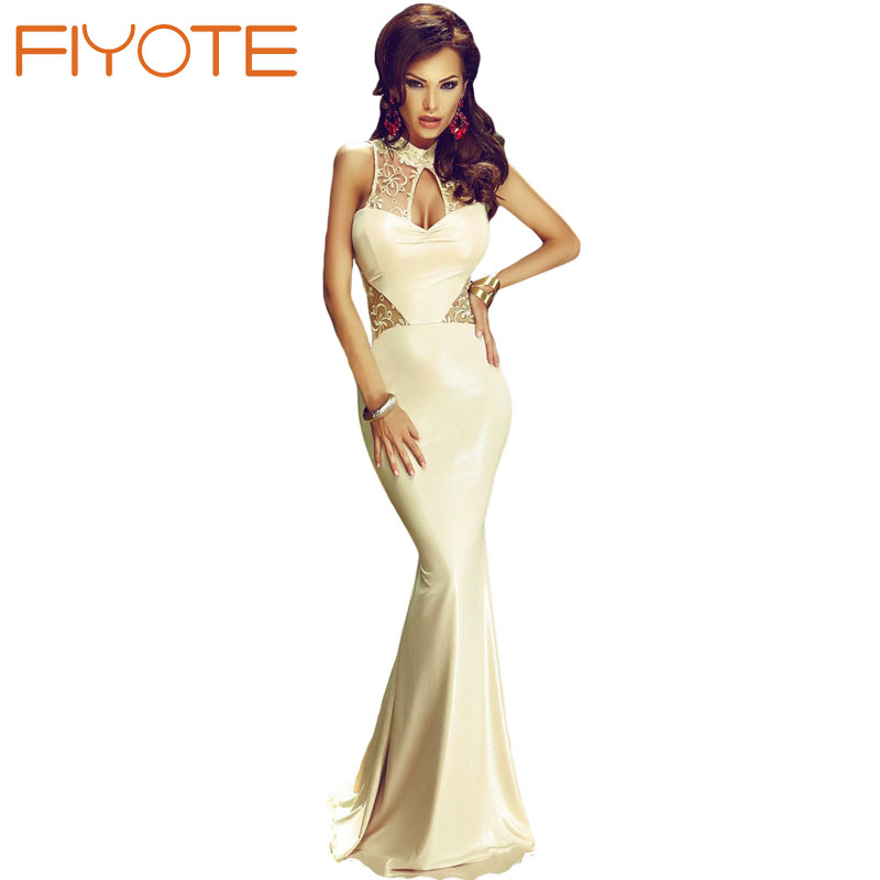 FIYOTE New Elegant Mermaid Dress Elegant Gold Lace Cutout Mermaid Party Dress Robe longue femme LC61162 Women Formal gown(China (Mainland))