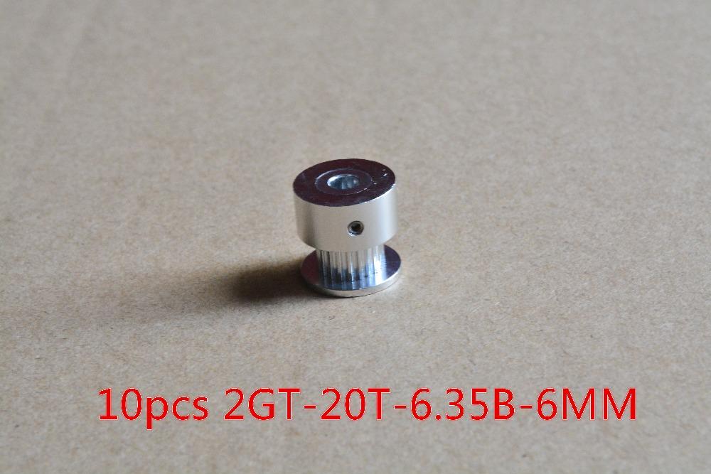 Гаджет  10pcs 3d printer pulley aluminum GT2 timing pulley 20 teeth bore 6.35 mm 2GT synchronous pulley fit match use GT2 belt width 6mm None Офисные и Школьные принадлежности