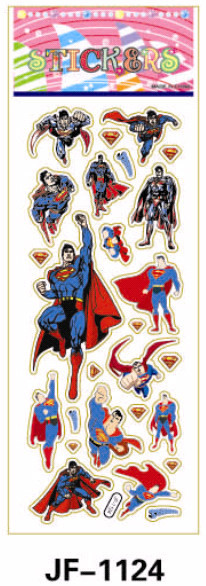 20 Sheets Combo Deal, Free shipping  TY0026 Superman Stickers, Man of Steel Stickers, Soft Vinyl Plastic Stickers Wholesale