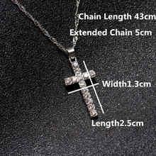 Sprzedaż Drop Shipping Hip Hop krzyż ze stopu naszyjnik Iced Out Rhinestone krucyfiks naszyjnik charms biżuteria(China)