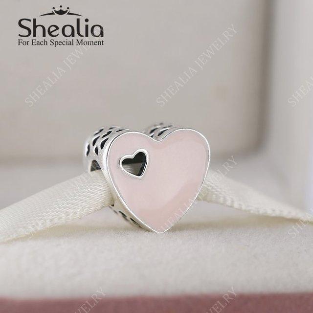 Стерлингового серебра 925 розовый в форме сердца любовь эмаль очарование бусины для женщин браслеты DIY ювелирных украшений лучший 2016 день святого валентина подарок BD339