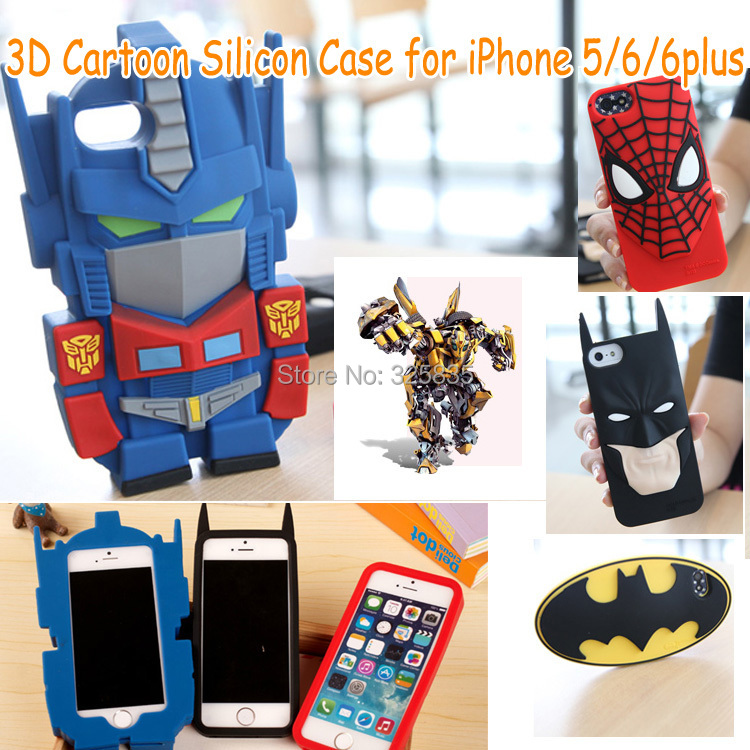2015 Hot BATMAN Case For Apple iphone 6 6plus Case covers 3D noctilucence spider man Mask Soft Silicone Cartoon phone case(China (Mainland))