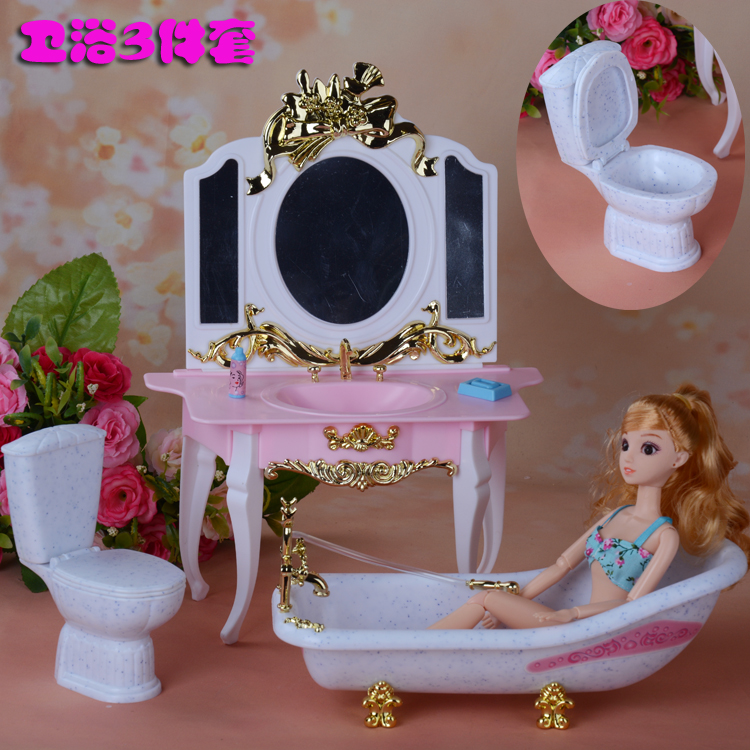 Furnishings Play Set Dresser + bathroom + tub suite for barbie Doll 1/6 Home Finest Reward Toys for Lady