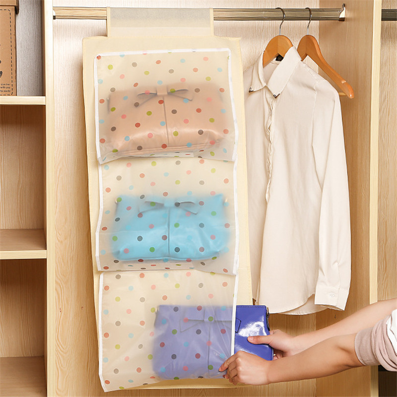 5 Pocket Transparent Dust proof Wardrobe Hanging Storage Bag Purse Handbag Tote Bag Storage Organizer Closet Rack Hangers U0766(China (Mainland))