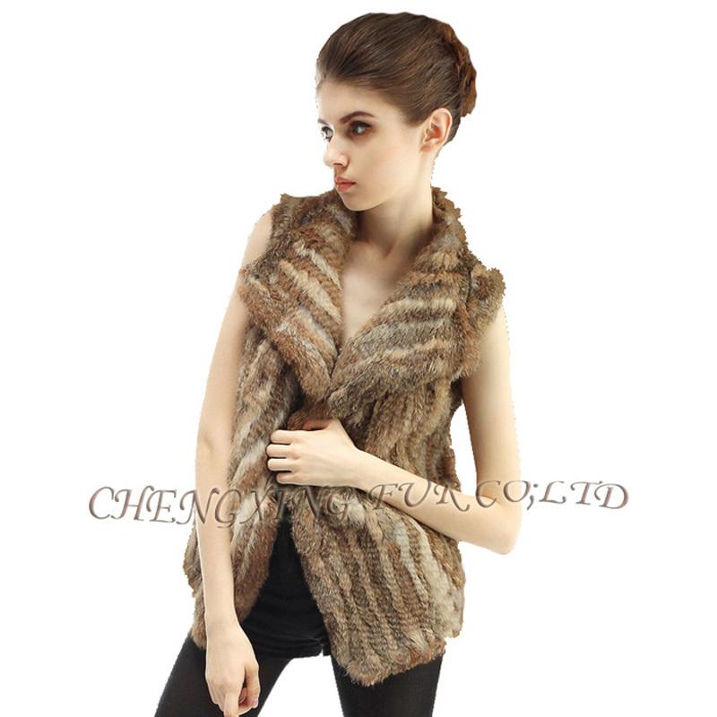 CX-G-B-38A 2015 New Fashion Style Ladies Knitted Genuine Rabbit Fur Vest