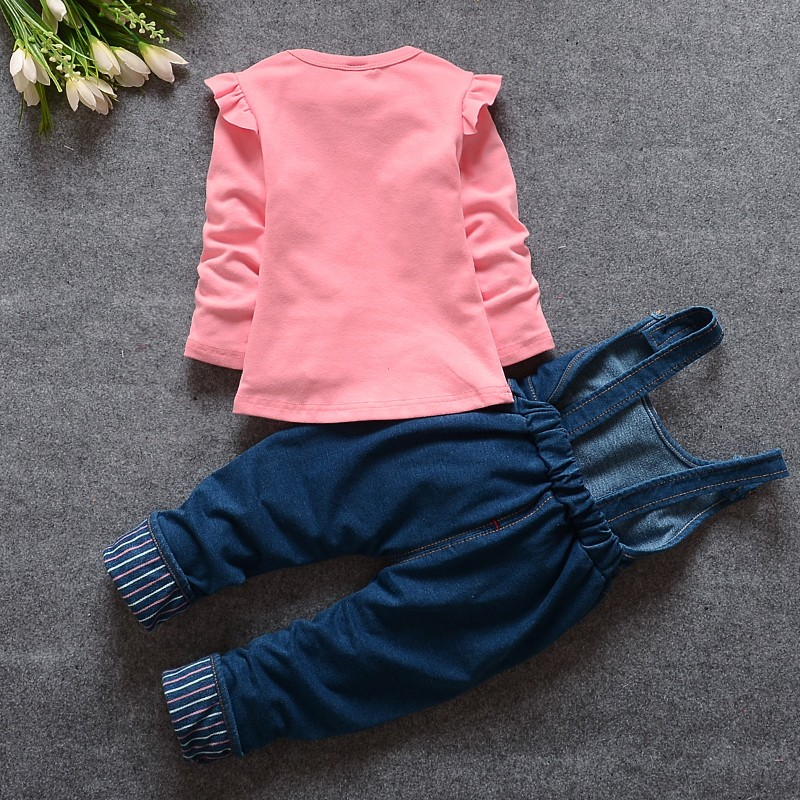 2016 New Hot Spring Baby Girls Clothing Set Children Denim overalls jeans pants + Blouse Full Sleeve Twinset Kids Clothes Set