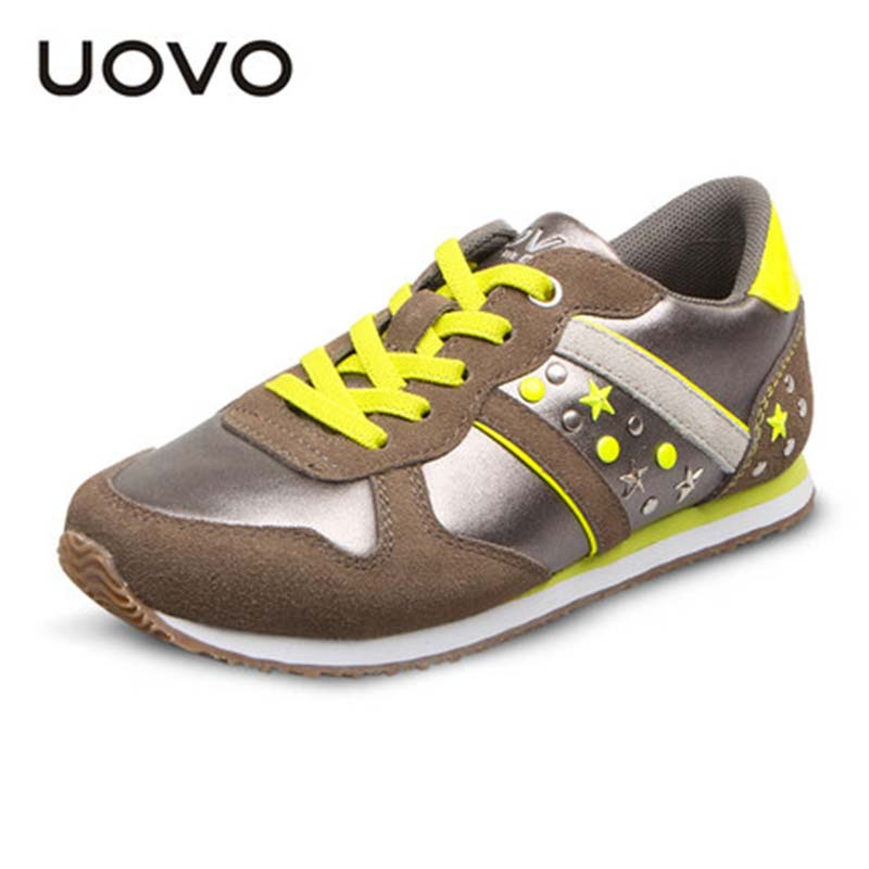 Kids Silver Shoes EU26-38 Children Soft Sneakers Uovo Brand Sport Shoes Boys Girls Casual Running Sapato Menino Kid Silver Shoes(China (Mainland))