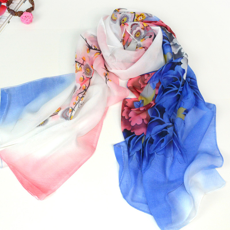 New 2015 Long Fashion Flower Print Chiffon Scarf Women Winter Scarves Shawls Desigual Brand foulard cachecol feminino echarpe(China (Mainland))