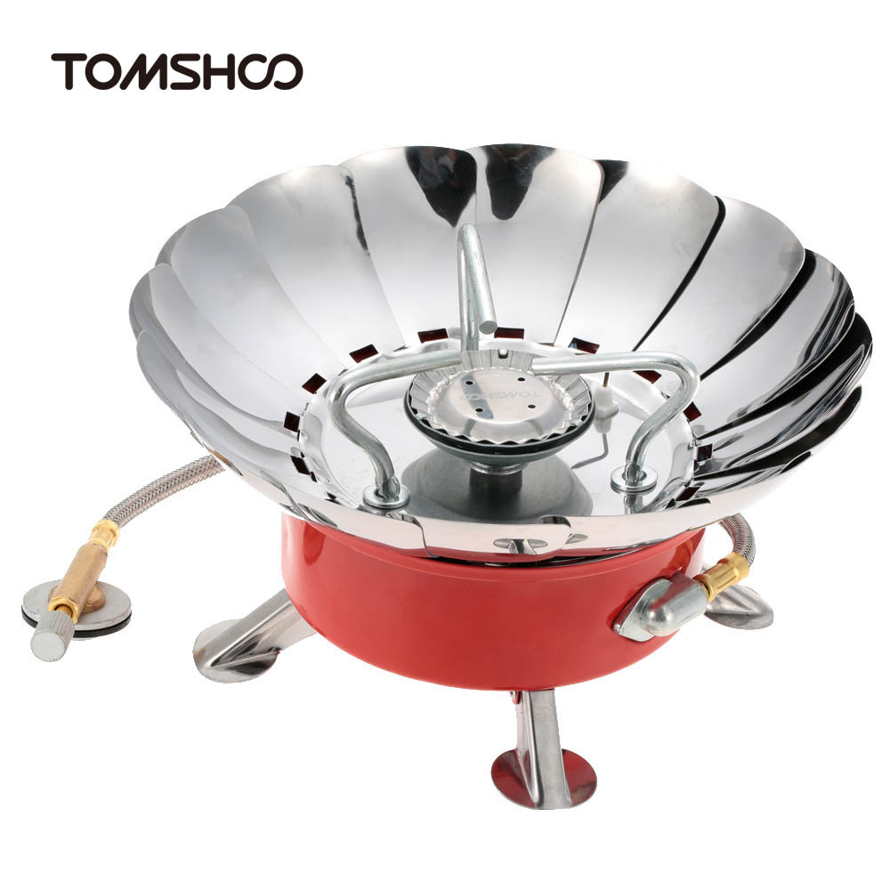 TOMSHOO Portable Collapsible Camping Backpacking Outdoor Stove Powerful Windproof Gas Stoves Camping Equipment for Flat Butane(China (Mainland))
