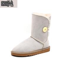 Envío libre clásico zurriago impermeable de cuero genuino botas para la nieve zapatos de invierno para las mujeres botas de Piel(China (Mainland))