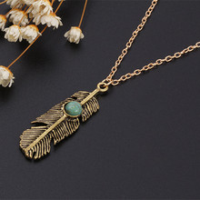 Hot Vintage Turquoise Pendant Necklace Fashion Bohemia style Feather Sweater Chian Accessories Wholesale Charm Jewelry For women