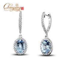 WHOLESALER JEWELLERY! SOLID 14K WHITE GOLD NATURAL BLUE AQUAMARINE DIAMOND EARRINGS , FASHION, HOT  RESIZABLE(China (Mainland))