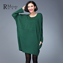 2015 Plus Size Dresses Brief Style Winter Loose Fashion Large Size Pure Color Mini Winter Dress for Women (R.Melody DS0183)(China (Mainland))