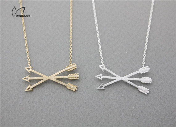 Здесь можно купить  30pcs/lot 2015 New Metalwork Stainless Steel Fine Jewelry Punk Piercing Crossed X Arrow Necklace for Women and Men  Ювелирные изделия и часы