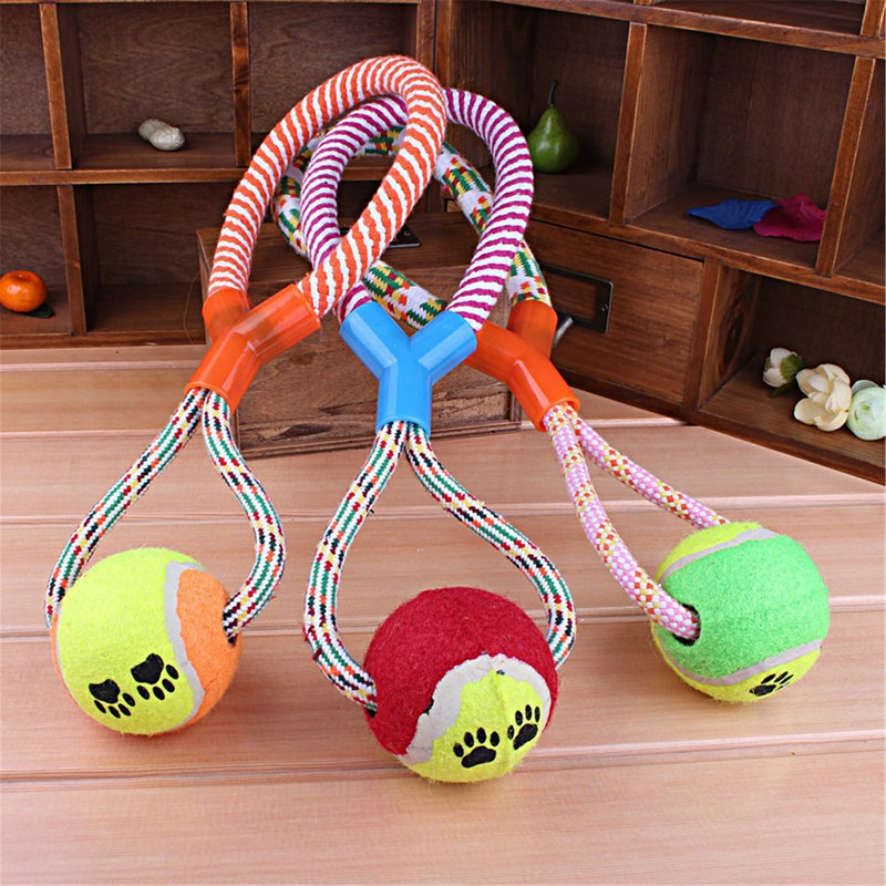 2016 Hot Sell Dog Toys Cotton Rope Y Word Single Ball Pet Dog Training Toys Durable Small Or Big Dog Tennis Toy(China (Mainland))