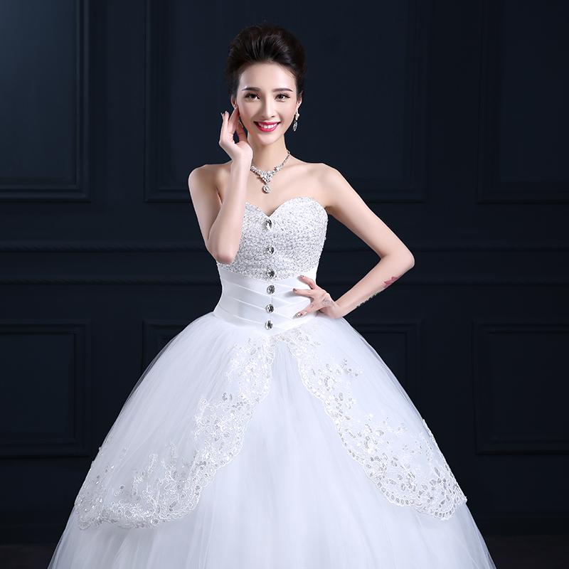 Роскошные хрустальные бальное платье свадебное платье 2016 Lustraous атласная милая принцесса кружева свадебное платье 1051