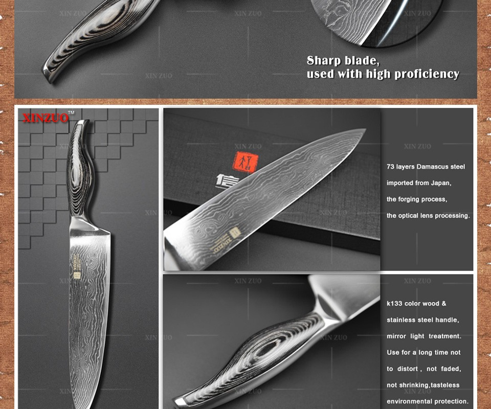 "Buy XINZUO 8"" inch chef knife Japanese VG10 73 layers Damascus kitchen knife sharp prefessional chef knife wood handle free shipping cheap"