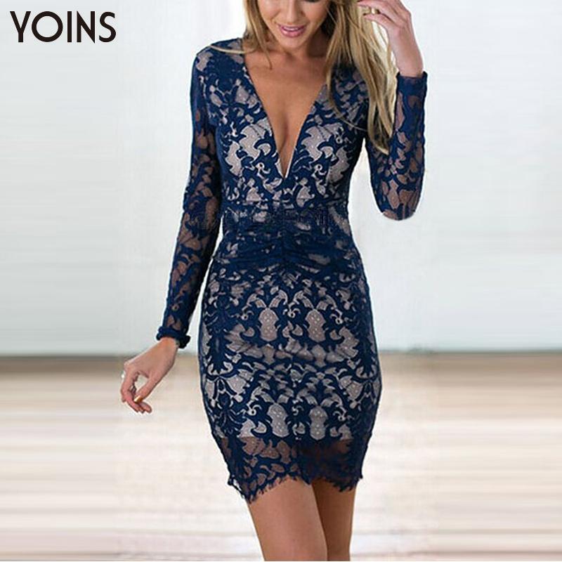 YOINS Fashion Women Sexy Deep V-Neck Backless Floral Lace Bodycon Mini Dresses Long Sleeves Party Dress Vestidos Femininos