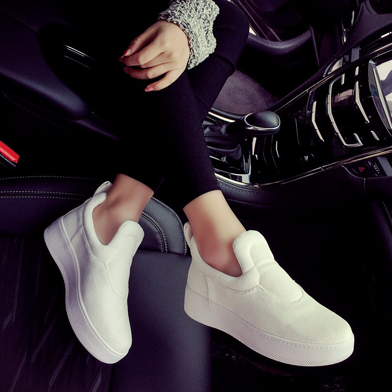 2016 New Spring Fall Fashion Flat Loafers Shoes Platform A Pedal Lazy Women Casual Single Shoes White Black Gray ZK4.5