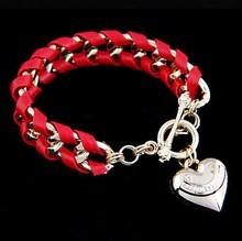 B207 Heart Bracelet, Multilayer Handwoven Leather Bracelet, Gold Love Charm Bracelet,5 Color Choice Free Shipping(China (Mainland))