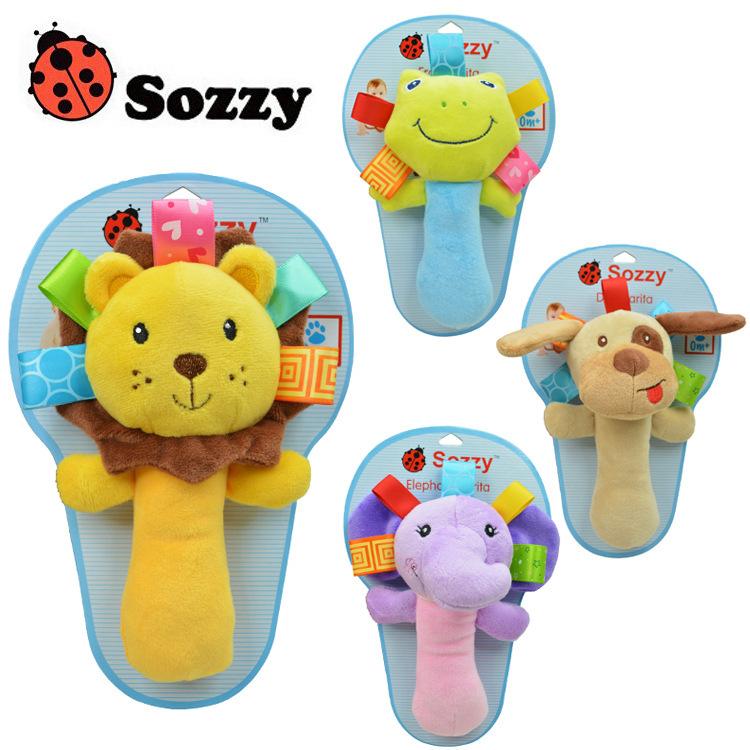 2015 New Lovely Baby Toys Hand Bell 5 Styles Long Handbell Ring Bell Animal Model Educational Developmental Toy B2(China (Mainland))