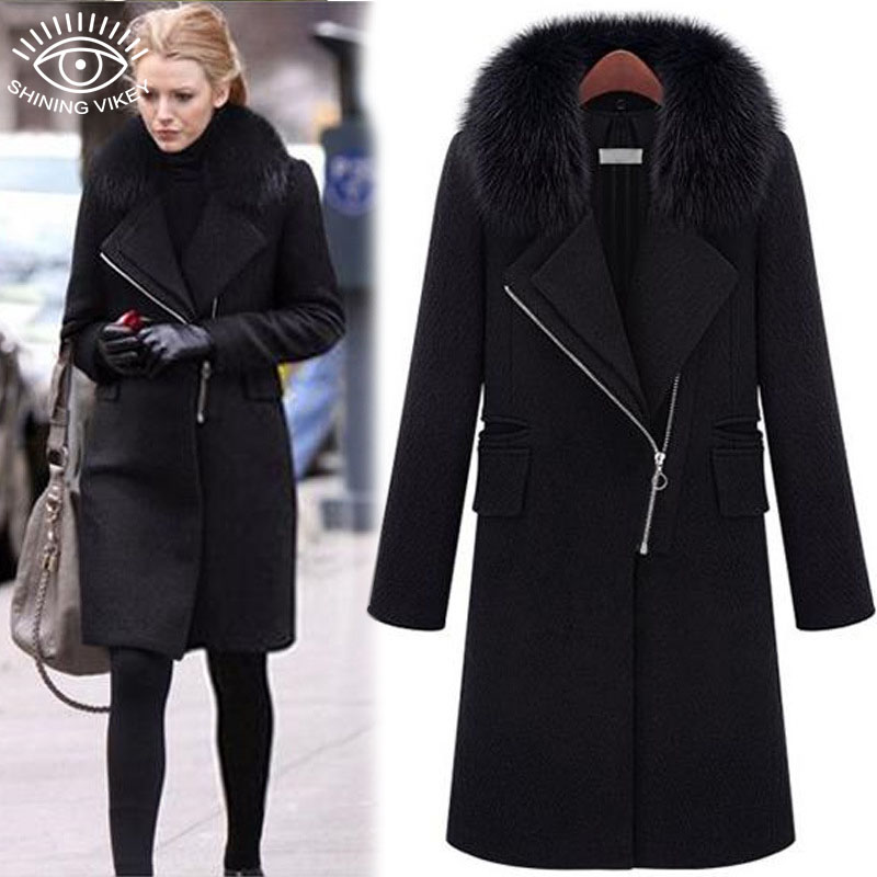 Womens Black Winter Coat Photo Album - Reikian