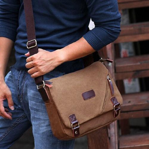 Gorgeous Men's Brown Vintage Canvas Shoulder Messenger School Student Book Bag(China (Mainland))