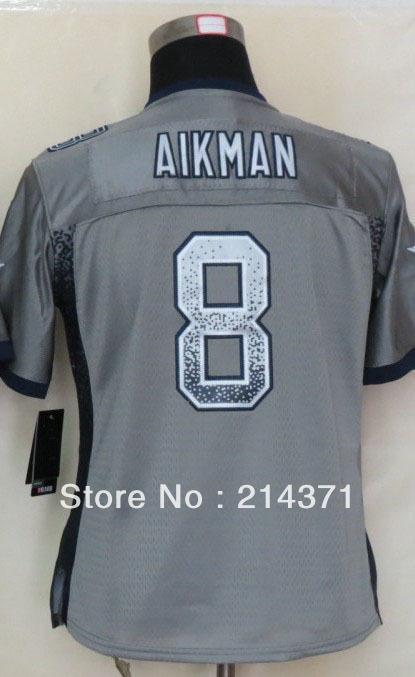 8 Troy Aikman Jersey Jersey Shop 8 Troy Aikman Women's Drift Fashion Gray Elite Football Jersey size: S-XXL(China (Mainland))