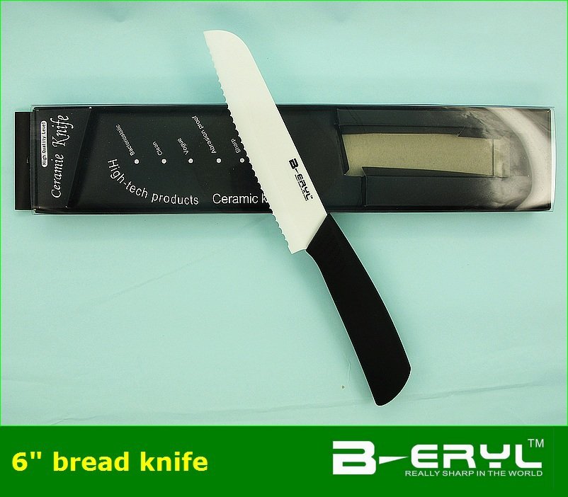 "BERYL ceramic kitchen knives 6"" bread the ceramic knife+retail box,black ABS Straight handle White blade 1PCS/lot(China (Mainland))"