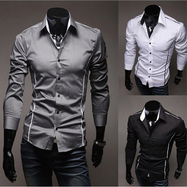 men shirts,hot sale men's casual shirts,spring dress High Quality men Slim Fit clothes mens Shirts 3 Colors dropshipping,LM0101(China (Mainland))