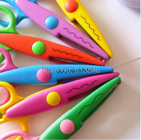 12 pcs/lot DIY Plastic Decorative Craft Enfant School Scissors for Paper Cutter Scrapbooking korea Stationery free shipping<br><br>Aliexpress
