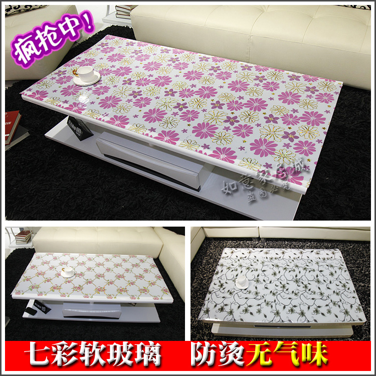 Colorful clip flower soft glass table cloth crystal table mat pvc plastic round table tablecloth table mats anti-hot dining(China (Mainland))