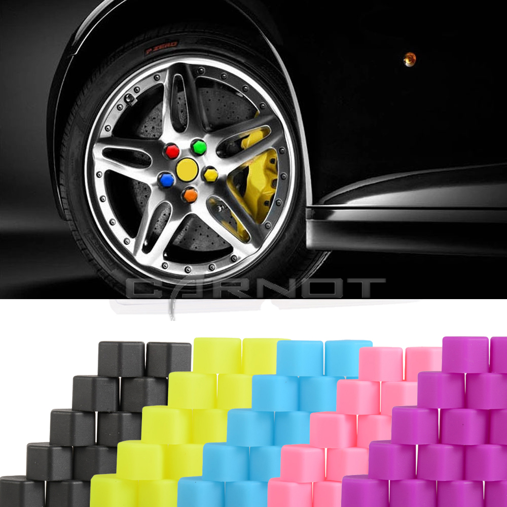 20pcs car styling car wheel hub screw Silicone Wheel Lugs Nuts Bolts Covers Hub Screw DUST Protective Caps 17 19mm For BWM VW CC(China (Mainland))