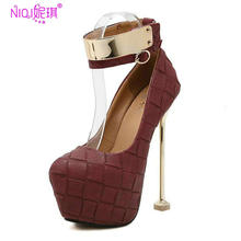 Brand Platform Extreme Thin High Heel Party Pumps Women Spring Metal Decoration Dress Wedding Heeled Sexy Shoes Wine Red Black(China (Mainland))