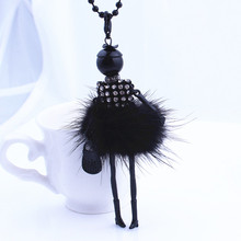 Women Rhinestone Necklace Lovely Dress Doll Sweater Chain Long Necklace Girls Pendant Fluffy Jewelry wholesale Free