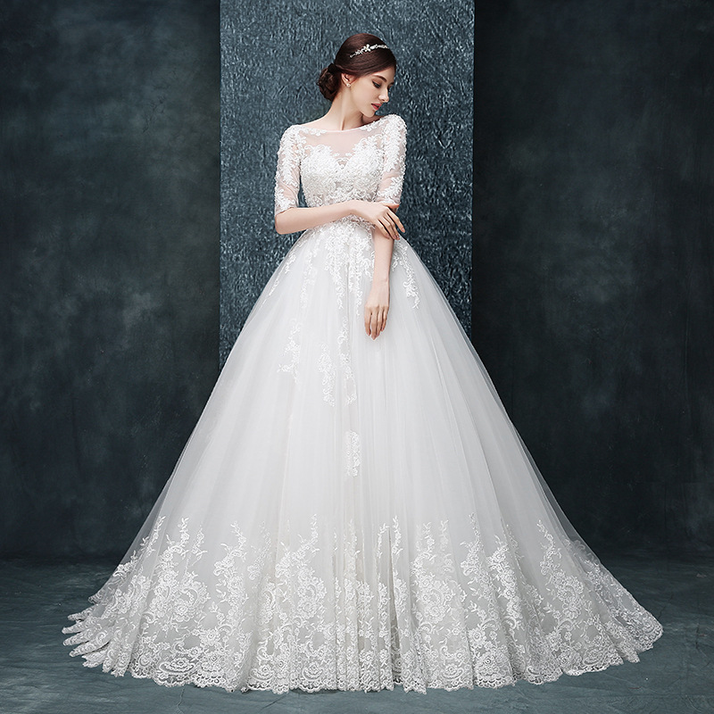 Sexy white boat neck lace bride wedding dress women mesh wedding dresses with long train WED90151(China (Mainland))
