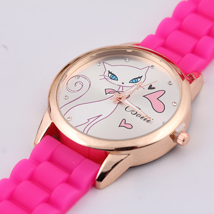 Женская горячая распродажа силиконовые кот часы женские кварцевые любители ремешок сплав циферблат 5 цветов женщины мода роскошные часы продажа