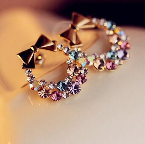 Free Shipping $10 (mix order) New Fashion Imitation Diamond Colorful Rhinestone Bow Earrings E41 Vintage Jewelry(China (Mainland))