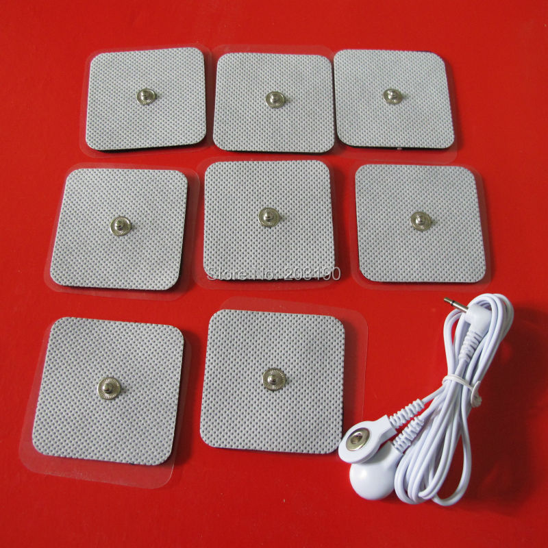 1PC ELECTRODE LEAD WIRES Cables 2.5mm + 5*5CM SQUARE PADS FOR DIGITAL THERAPY MACHINE MASSAGER - Professional Health-care store