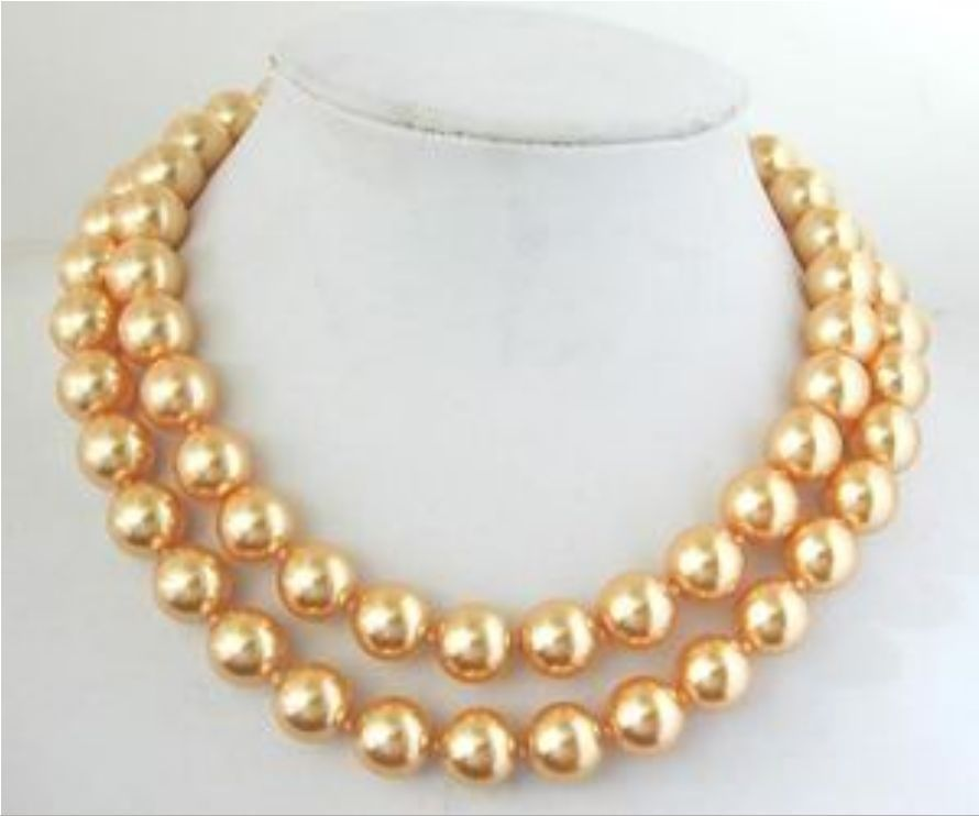 """Discount!!DIY Lovely fashion long 10mm Gold South Sea Shell Pearl Necklace 34"""" beads jewelry making about43pcs/strands(China (Mainland))"""