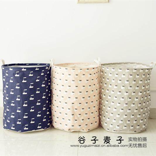 new large Zakka cotton glove box storage basket bra clothes bag canvas handles wash necktie socks organizer laundry basket(China (Mainland))