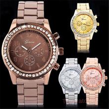 2015 Casual Watch Geneva Unisex Quartz Watches Women Analog Wristwatches Stianless Steel Sports Watches Relogio Feminino