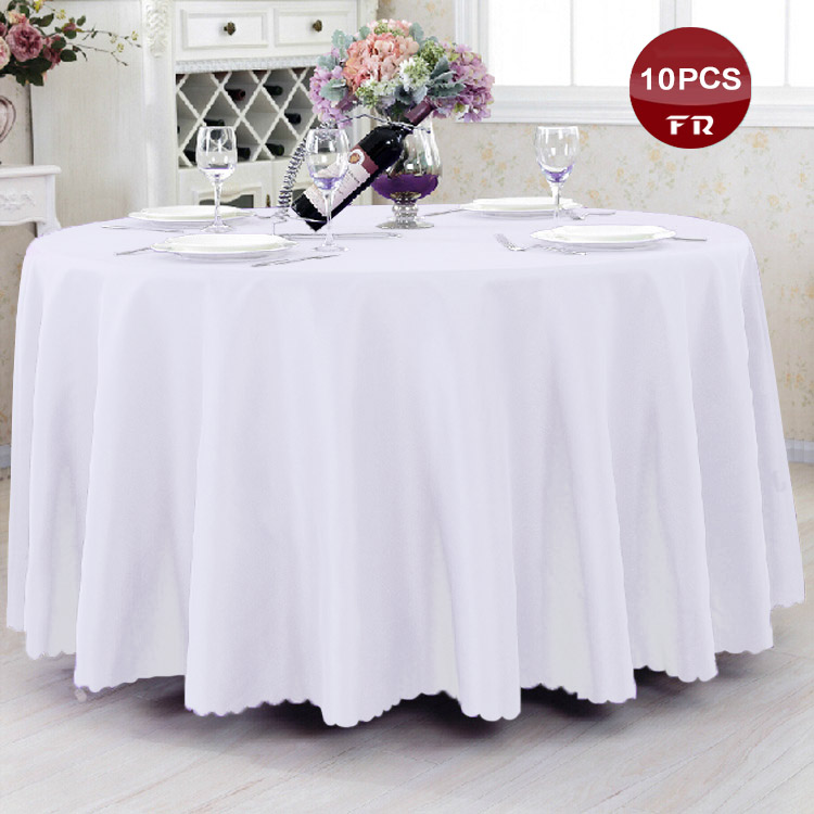 Factory Wholesale 10PC/Pack Polyester Seamless Wedding Table Cloth Cheap Machine Washable Tablecloth for Banquet Hotel Party(China (Mainland))
