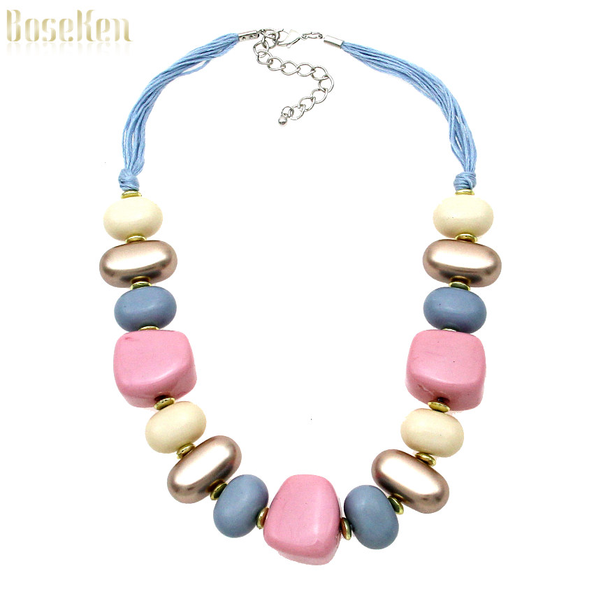 Unique Design Fashion Chokers Rope Chain Acrylic Bead Pendant Women Dress Charm Jewelry Accessories Statement Necklaces #4011(China (Mainland))