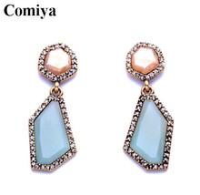 OL summer Style Women Jewelry Fashion African Geometric Created Gems Dangle Earrings blue drop earring vintage brand rhinestone(China (Mainland))
