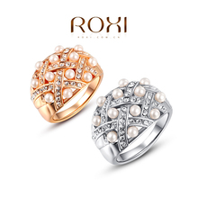 OXI New Arrived pearl free shipping Rings For Women platinum and rose gold  Color Fashion rings
