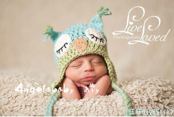 Photography props baby hat yarn infant cap owl cap