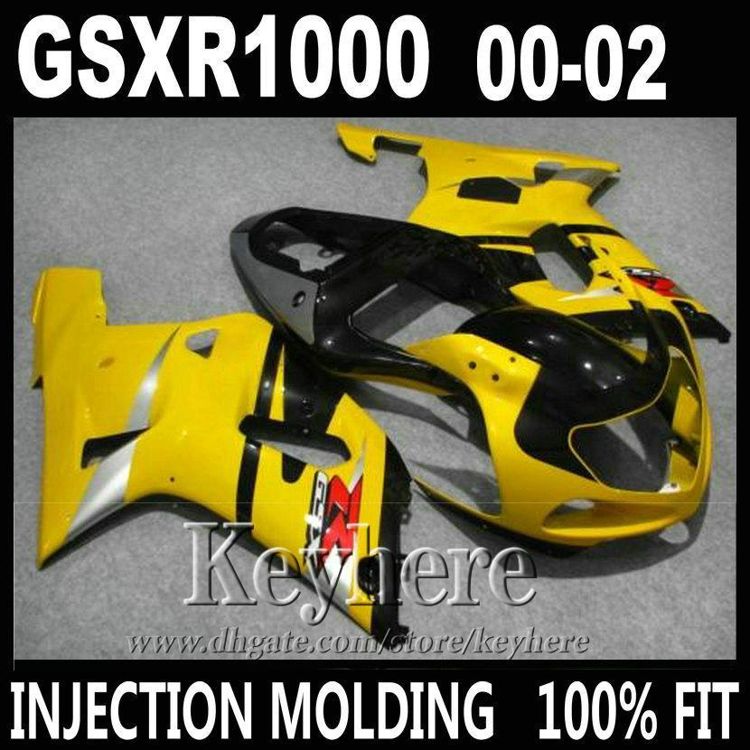 Injection molding for SUZUKI GSXR 1000 fairings yellow black 2000 2001 2002 K2 GSXR1000 fairing kit 00 01 02 T5R30(China (Mainland))